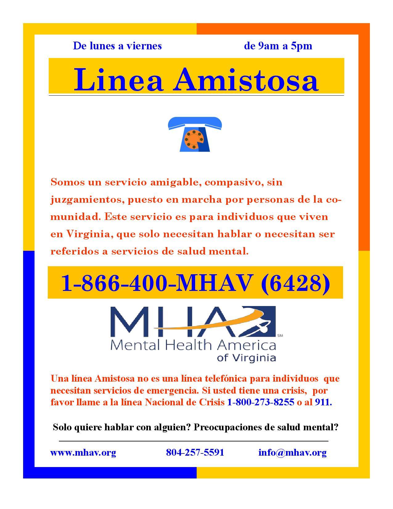 Warm Line Mental Health America Of Virginia