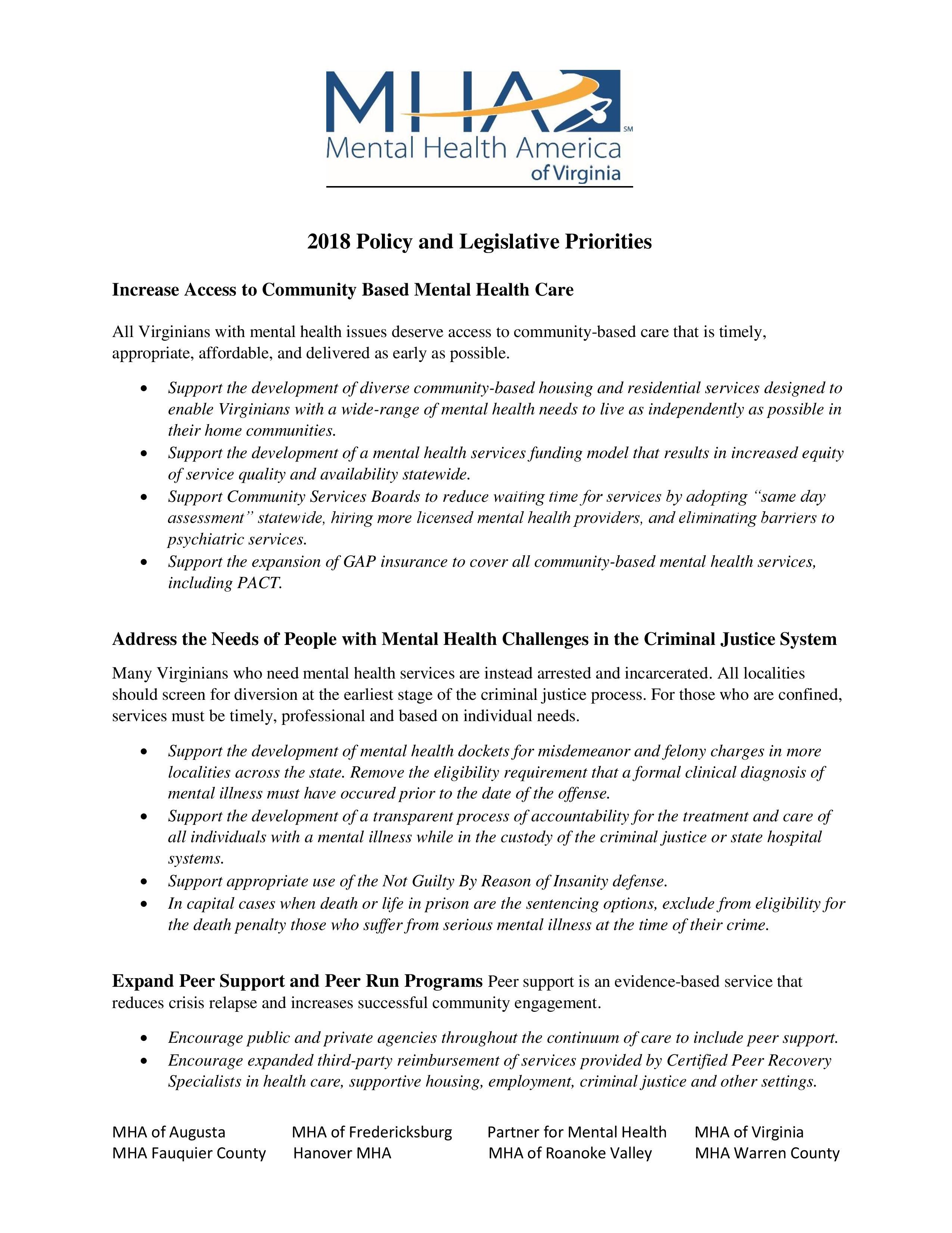 Advocacy Mental Health America Of Virginia