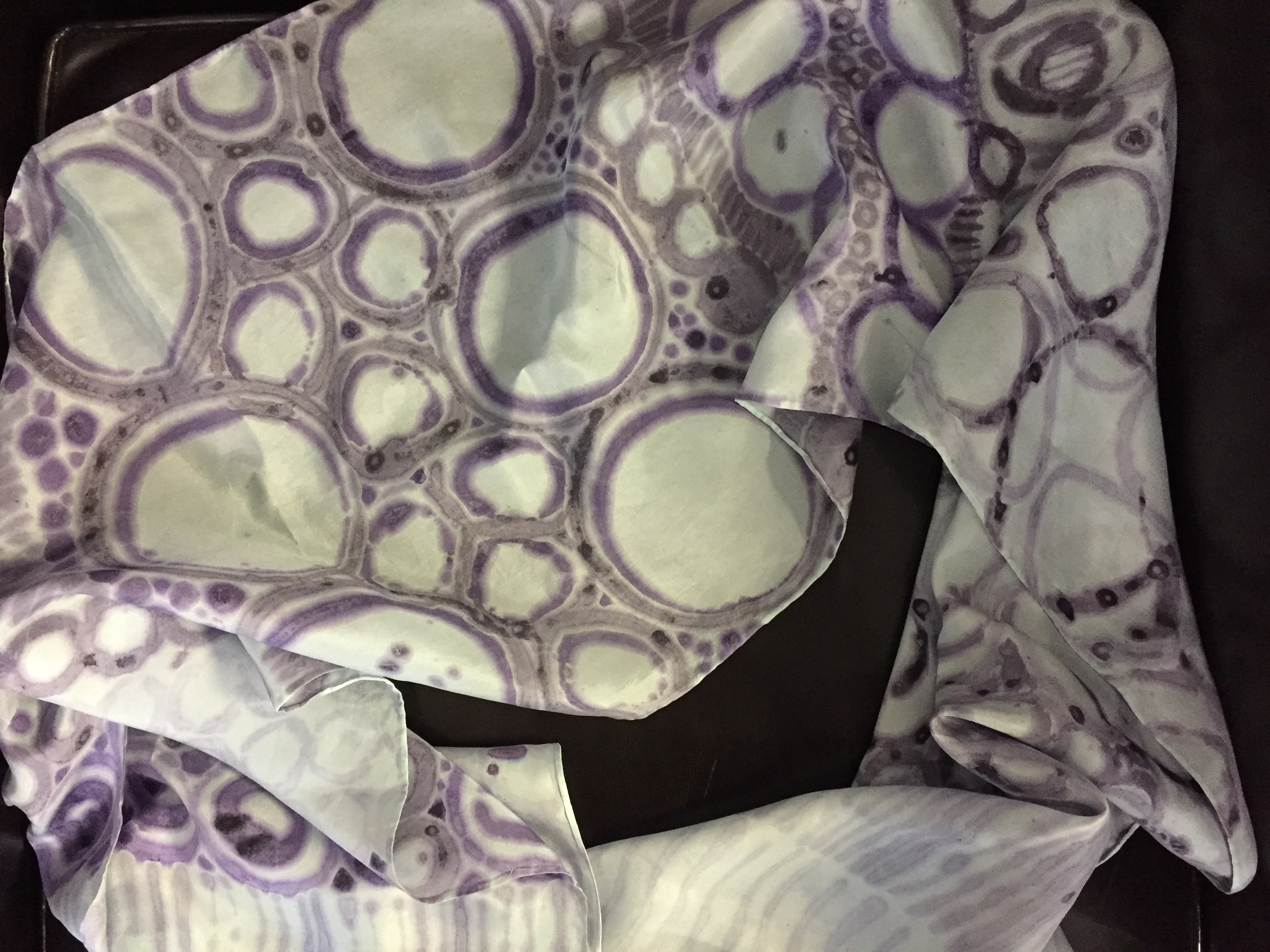 silk scarf w/dyed designs