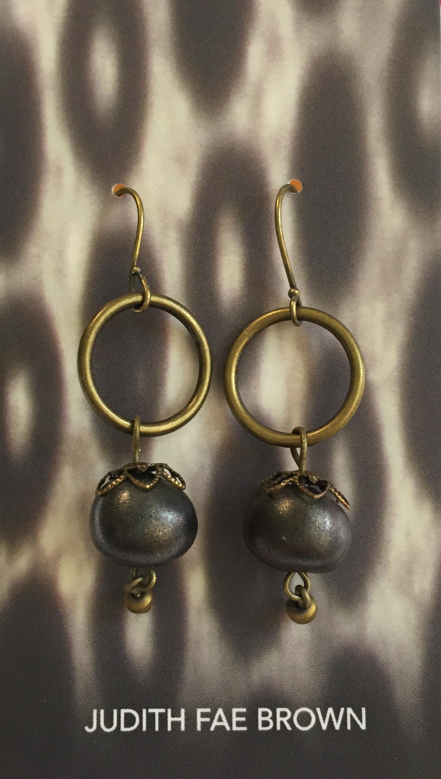 Earrings - handmade ceramic beads/mixed metals